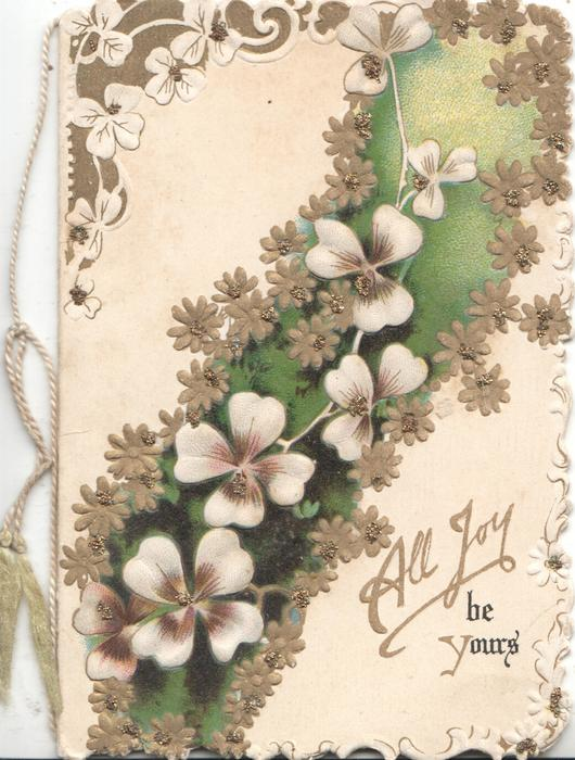 ALL JOY BE YOURS below flowers on diagonal green band, floral marginal designs