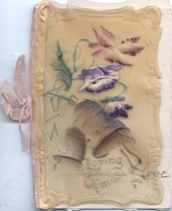 LOVING CHIMES below 2 bells & purple flowers, stylised white & gilt flowers around rural inset on green design