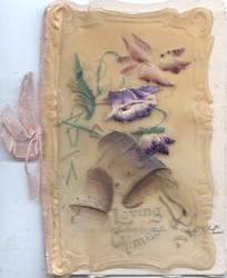 LOVING CHIMES below 2 bells & purple flowers, stylised white & gilt flowers around rural inset on green design