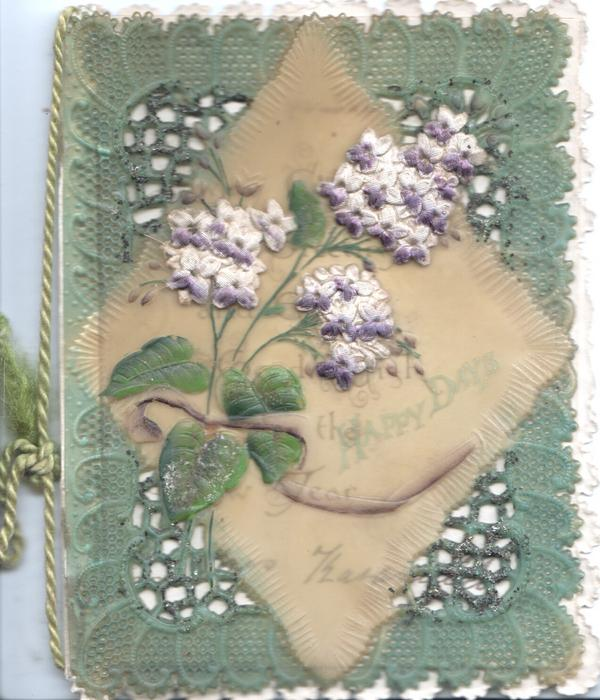 HAPPY DAYS on cellophane, applique purple flowers, glittered perfotated corner designs,