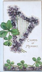 CHORDS OF MEMORY In gilt beloiw violet covered harp, shamrock leaves