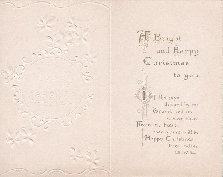GOOD WISHES In gilt on white plaque with designed borders, violets around