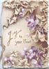 JOY TO YOUR HEART In gilt left, glittered ivy &  violets against brown background design
