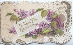 TO WISH YOU HAPPINESS (T,W, & H illuminated) in gilt among leafy violets, elaborate perforated marginal design