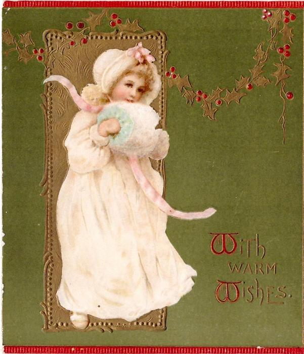 WITH MUCH LOVE(W's illuminated), girl in cream dress stands part right wearing muff, 3 red margins, green background