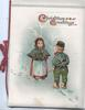 CHRISTMAS GREETINGS(C & G illuminated, girl stand facing boy who has mistletoe held behind his back