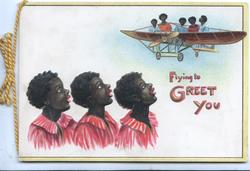 FLYING TO GREET YOU(illuminated), 3 black girls look up at  5 black people in aeroplane