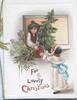FOR A LOVELY CHRISTMAS boy hands  a potted Chistmas tree through window to girl