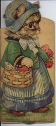 no title given, image of a dressed cat walking with a basket of food on one arm and flowers in the other