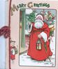 MERRY CHRISTMAS Santa walks front carrying large sack of toys & tree, small girl drums left