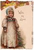 WITH MY LOVE in gilt, girl in old style dress stands holding holly below berried holly twig, yellow tassled decorations above