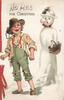 NO MISS( in white) FOR CHRISTMAS, ragged boy stands  having snowballed fantasy snow lady, printed bell-pull left