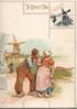 TO GREET YOU Dutch man & woman hold hands standing in road, sea & windmill behind, windmill on tiles top right