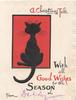 A CHRISTMAS TALE WITH ALL GOOD WISHES FOR THE SEASON black cat facing away in red plaque