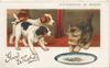 GOOD WISHES in gilt, A DIFFERENCE OF OPINION above kitten defending plate of fish from 2 puppies