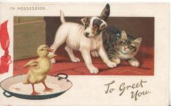 IN POSSESSION, THE BOLD DUCKLING duckling stands flapping wings on plate, puppy & kitten observe base in gilt TO GREET YOU.