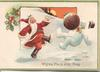 WISHING YOU A JOLLY XMAS Santa kicks a  Xmas pudding at personised snowman