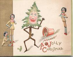 A JOLLY CHRISTMAS (A, J & C illuminated) personised xmas tree dances for 3 stick girls, gilt design left