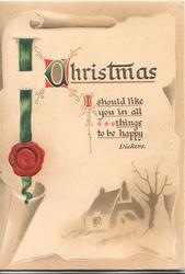 CHRISTMAS, verse above shawowy house & tree, printed green ribbon & red seal left