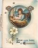 LOVE CAME DOWN AT CHRISTMAS below circular inset of Mary & Jesus, floral designs around