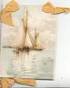 no front title, seascape across 2 flaps of sailing ships, 3 yellow ribbon bows applique