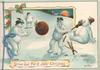 STRIKE OUT FOR A JOLLY CHRISTMAS (illuminated) 4 snowmen use Xmas pudding as ball, snow scene
