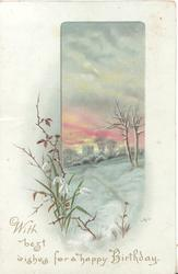 WITH BEST WISHES FOR A HAPPY BIRTHDAY. below snowdrops & snowy rural  scene
