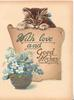 WITH LOVE AND GOOD WISHES in blue on fawn plaque below kitten, forget-me-nots in bowl