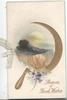 SHEAVES OF GOOD WISHES in gilt below blue cornflowers, gilt sickel round inset of wheatfield for harvest