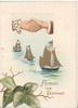 ACROSS THE DISTANCE in gilt below right, 3 sailing ships, clasped male & female clasped hands, ivy below