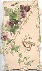 GREETINGS(G illuminated) in gilt below ivy & violets, printed bell pull