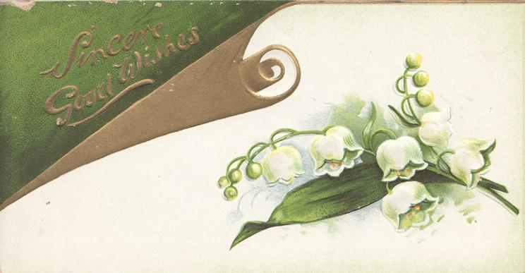 SINCERE GOOD WISHES in gilt top left design,  lilies-of-the-valley below right