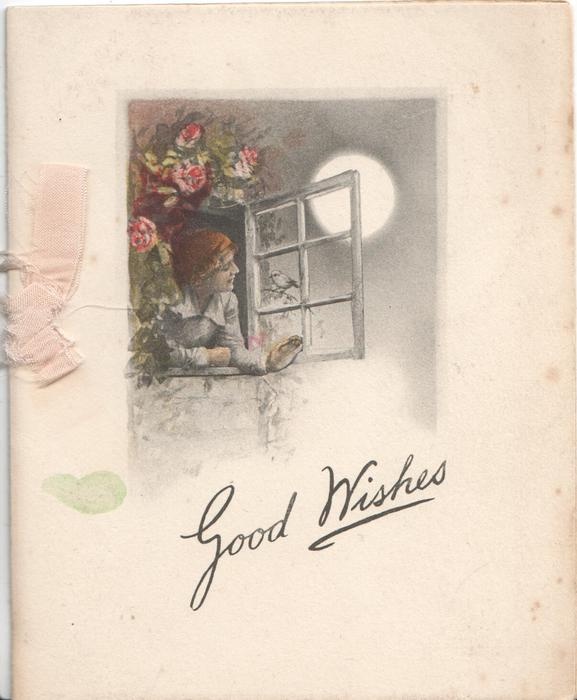 GOOD WISHES below woman at window looking out at moon, pink roses above