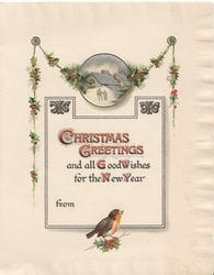 CHRISTMAS GREETINGS AND ALL GOOD WISHES FOR THE NEW YEAR below berried holly chain with silver inset, bird below