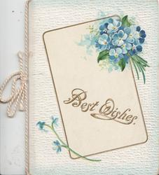 BEST WISHES in gilt on white plaque below bunch of forget-me-nots all set in white embossed background