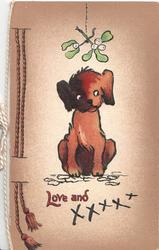 LOVE AND XXXXX, puppy sits under mistletoe, printed bell-pull left