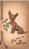 XXXXX TO GREET YOU red, puppy sits with mistletoe attached to collar, printed bell-pull left