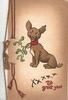 XXXXX. TO GREET YOU, puppy sits with mistletoe attached to collar, printed bell-pull left