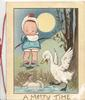 A MERRY TIME girl  watches goose startled by doll that has fallen into water, moon behind