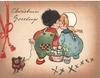 CHRISTMAS GREETINGS top left, boy & girl kiss while walking away carrying basket of mistletoe, small dog below printed red bell-pull