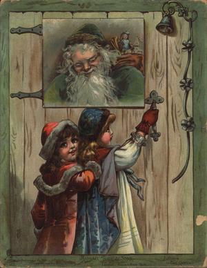 no title given, image of two young girls pulling open a wooden door with Santa looking down from above