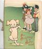 FOR CHRISTMAS IS A MERRY TIME 3 children watch white dog dancing on grass