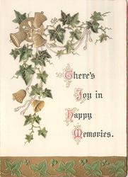THERE'S JOY IN HAPPY MEMORIES ivy above with gilt bells & below on gilt panel