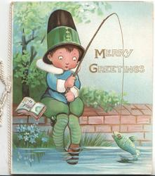 MERRY GREETINGS in gilt, boy sits with his feet in the water & has caught a fish, Alphabet book at his side