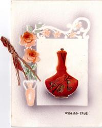 WISHES TRUE inset orange vase enclosed with pot pourri, orange roses left
