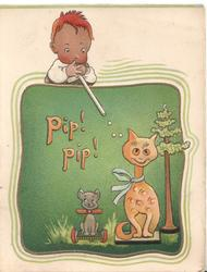PIP! PIP! in orange, boy blows pellets at cat seated below beside puppy & tree, green background