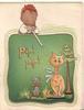 PIP! PIP! in orange, boy blows pellets at cat seated below beside puppy & tree, green background