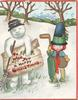TO WISH YOU A HAPPY CHRISTMAS on wooden plaque held by snowman, girl in old-style dress holds umbrella, snoiw scene