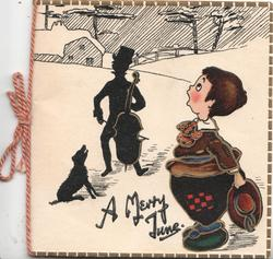 A MERRY TUNE below snow scene, man plays violin to singing boy & dog