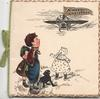 A MERRY CHRISTMAS on flag flying from airplane watched by boy & girls & black dog